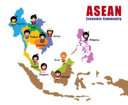 southeast asia: Cartoon map of Asean, asia, south east asia, AEC