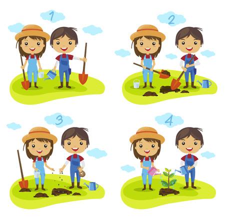 plantando arbol: proceso de plantación de árboles de dibujos animados, ¿Cómo hacer crecer un árbol, jardinería, Farmers Personajes vector, regar una planta