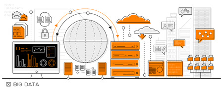 빅 데이터의 개념, 클라우드 컴퓨팅 정보 그래픽 비즈니스 라인 아이콘 - 평면 디자인 벡터 일러스트