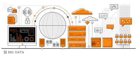 grande notion de données, le cloud computing d'info graphique icône de la ligne d'affaires - vecteur design plat Vecteurs