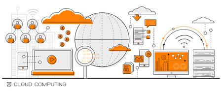 datos concepto grande Info Cloud Computing gráficos. icono de línea de elementos de diseño plano vectorial.
