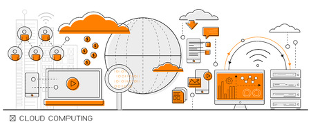 computadora: datos concepto grande Info Cloud Computing gráficos. icono de línea de elementos de diseño plano vectorial.