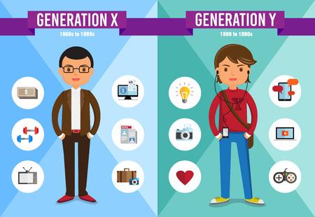 generace: Generace X, Generace Y - kreslená postavička