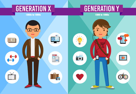 cartoon money: Generation X, Generation Y - cartoon character