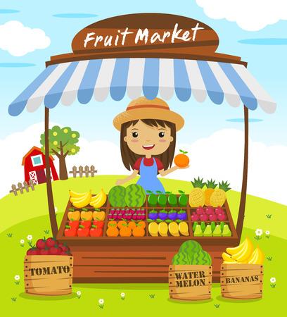 platano caricatura: Puesto de frutería. mercado de los granjeros, personajes de dibujos animados ilustración vectorial