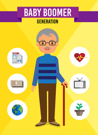 persona mayor: Personaje de dibujos animados Baby Boomer generación, infografía