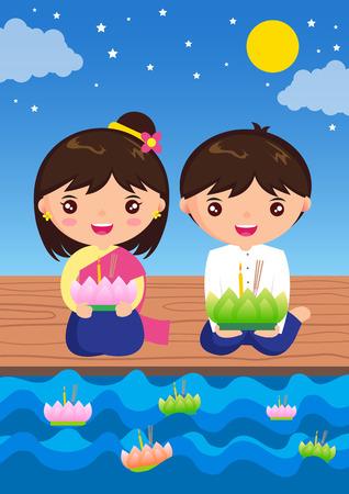 Loy Kratong Festival stripfiguur thailand traditioneel kostuum Stock Illustratie