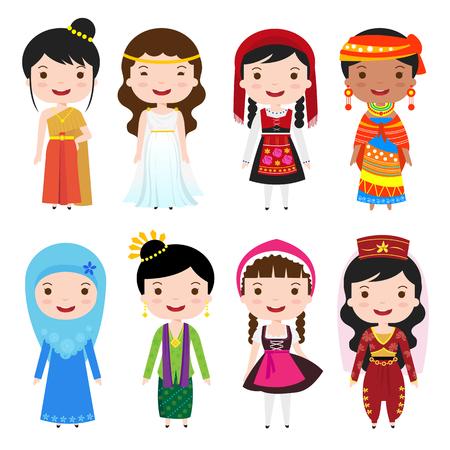 klederdracht kleding van de wereld, cartoon meisjes in verschillende nationale kostuums Stock Illustratie