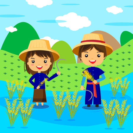 asean: Thai farmer cartoon character - vector