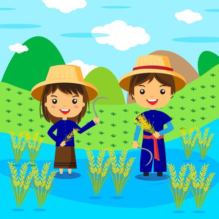 cartoon farmer: Thai farmer cartoon character - vector