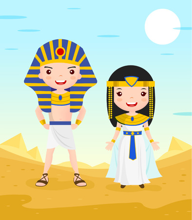 egyptian pyramids: egypt costume cartoon character couple in the desert - vector illustration
