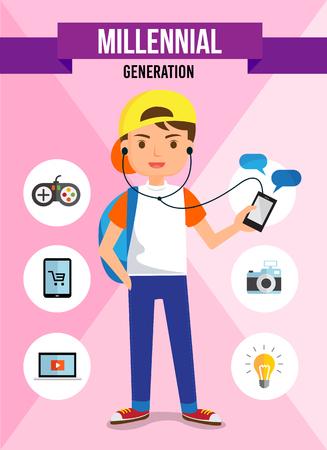 Millennial generation - cartoon character, info graphic