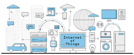 cloud computer: Internet of Things concept, info graphic business icons - vector illustration