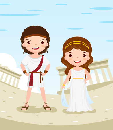 Grèce histoire du costume couple personnage de dessin animé dans la ville antique - illustration vectorielle Vecteurs