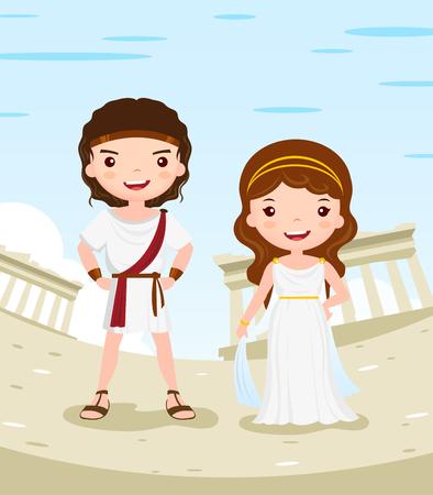 romano: Grecia historia del vestido personaje de dibujos animados par en la antigua ciudad - ilustraci�n vectorial