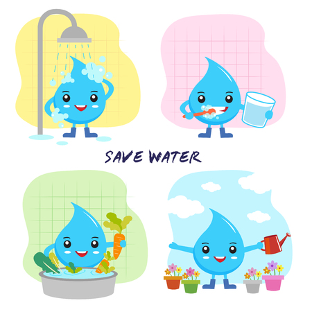save water concept, save the world, cartoon water drops character Vectores