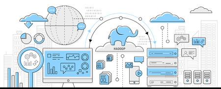 평면 디자인 벡터 - 빅 데이터 개념, 정보 그래픽 비즈니스 라인 아이콘을 하둡 일러스트