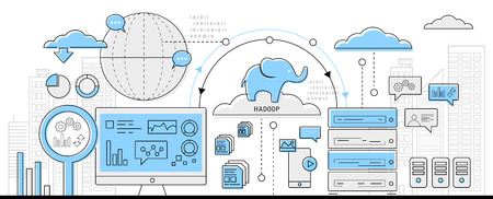hadoop big data concept, info graphic business line icon - flat design vector  イラスト・ベクター素材