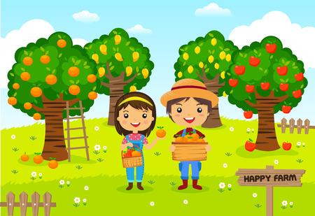 Los agricultores que trabajan en una granja, jardinero, jardín de árboles frutales, personajes de dibujos animados de vectores