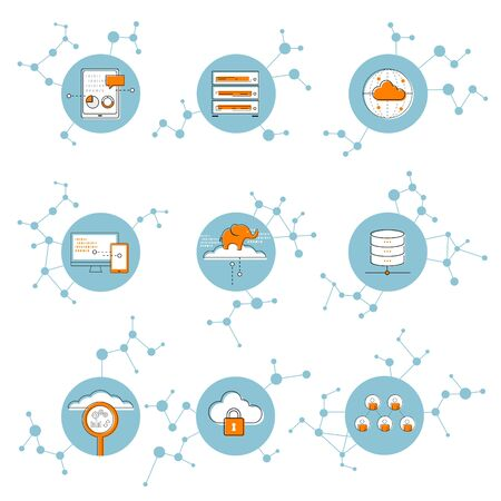 アイコン ネットワーク接続概念、クラウド、ビッグデータの図