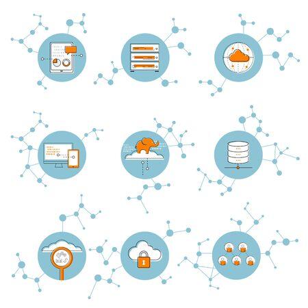 아이콘 네트워크 연결 개념, 클라우드 컴퓨팅, 빅 데이터, 그림 일러스트