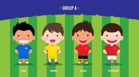 Character design met voetballers kampioenschap € 2016, cartoon, groep A Stock Illustratie
