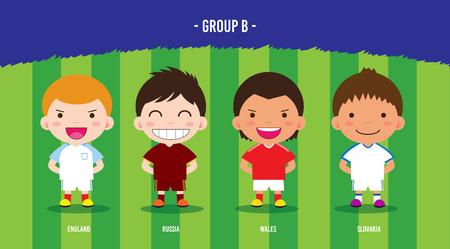 karakter voetballers ontwerp kampioenschap € 2016, cartoon, groep B Stock Illustratie