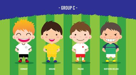 karakter voetballers ontwerp kampioenschap € 2016, cartoon, groep C