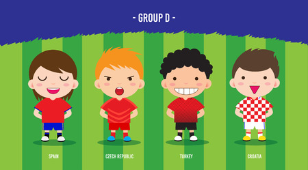 karakter voetballers ontwerp kampioenschap € 2016, cartoon, groep D