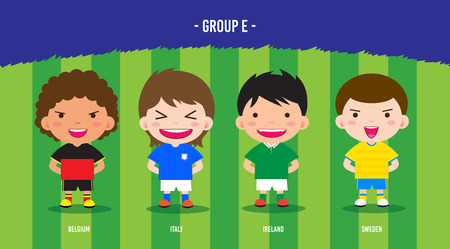 character design soccer players championship 2016 euro, cartoon, group E