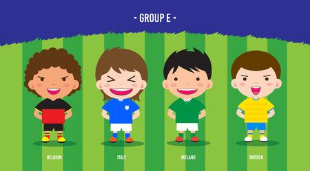 karakter voetballers ontwerp kampioenschap € 2016, cartoon, groep E
