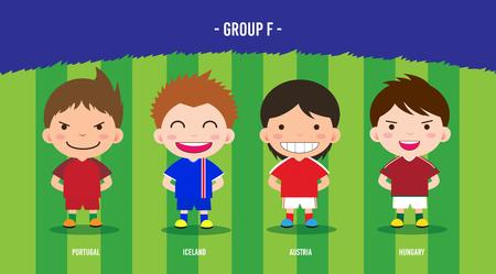 karakter voetballers ontwerp kampioenschap € 2016, cartoon, groep F Stock Illustratie