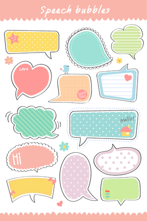 papel de notas: dibujado a mano, linda colección de burbuja de diálogo, hablando, plantilla de cuadro de texto Vectores