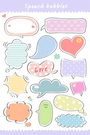 hand getekende, leuke tekstballon collectie, het spreken, tekstvak sjabloon Stock Illustratie
