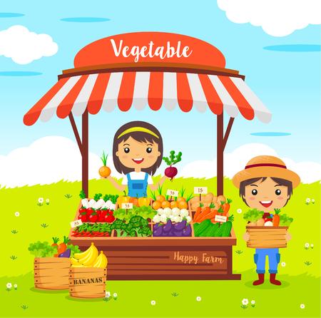 groenten winkel kraam, boerenmarkt, stripfiguren vector, Lokale markt boer groenten Stock Illustratie