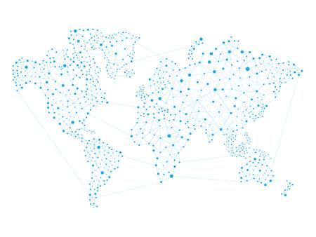 世界地図ネットワーク、グローバル ネットワーク接続のベクトル図