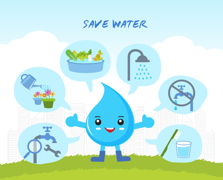 save the water Infographic, save the world, cartoon water drops character