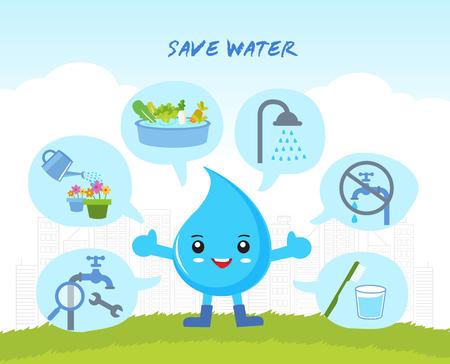 zapisać wody Infographic, uratować świat, kreskówki charakter kropli wody