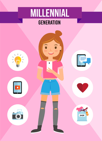 Millennial Generation cartoon character, infographic