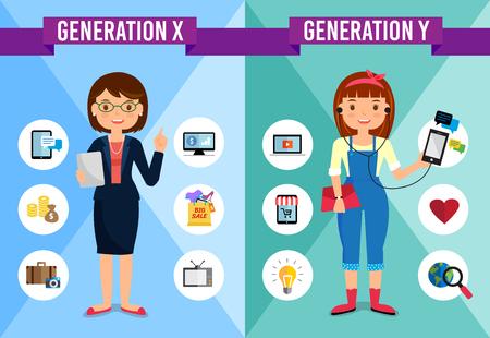 세대 비교 인포 그래픽, X 세대, Y 세대, 만화 캐릭터