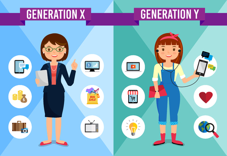 Generations Comparison infographic, Generation X, Generation Y, cartoon character Stok Fotoğraf - 67065254