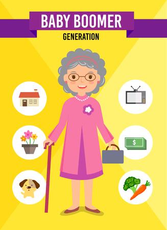 Baby Boomer Generation stripfiguur, infographic Stock Illustratie