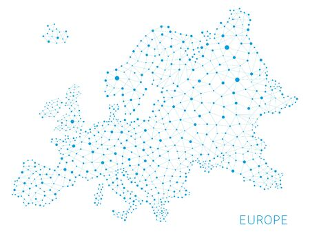 ヨーロッパ地図ネットワーク接続概念のベクトルの背景