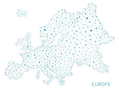 유럽지도 네트워크 연결 개념, 벡터 배경
