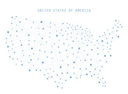 アメリカ地図ネットワーク接続、ベクトル イラスト  イラスト・ベクター素材