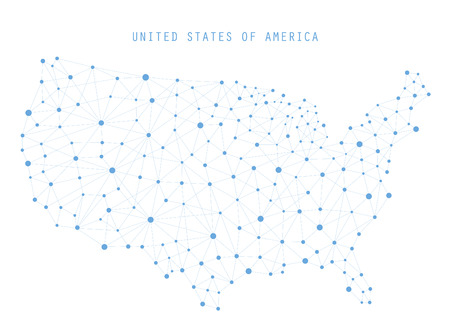 USA Map Network Connections, Vector illustration Çizim