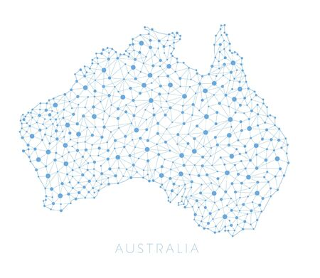 Australia Map Network connections Vector Çizim