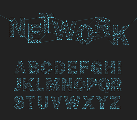 font design network technology, alphabet, vector illustration.