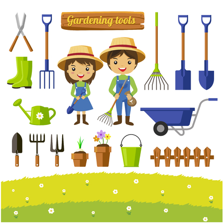 Gardening tools collection, farmers cartoon characters - Vector illustration