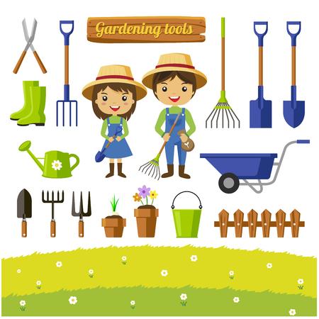 Raccolta degli strumenti di giardinaggio, personaggi dei cartoni animati degli agricoltori - Vector l'illustrazione